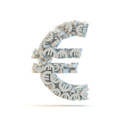 White euro mark isolated on white.