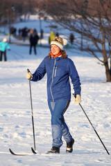 girl goes skiing