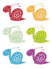 snail flowers set