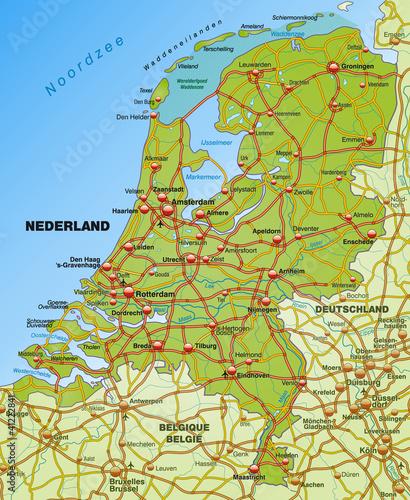 autobahn karte Autobahnkarte der Niederlande mit Nachbarländern