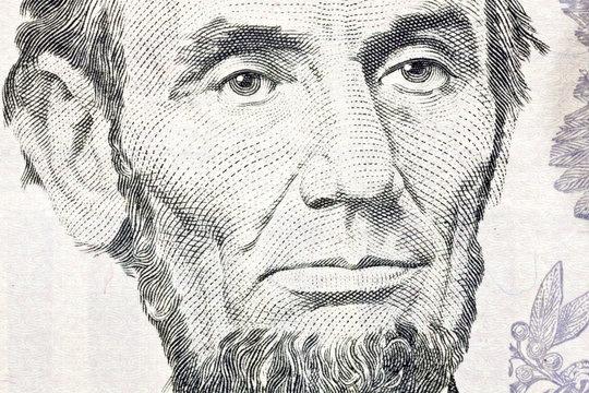 Honest Abe Lincoln Macro Close Up US Five Dollar Bill