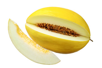 Sweet yellow melon with a slice