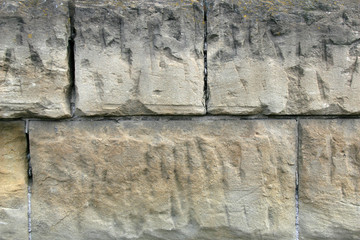 Chizeled and Squared Sandstone Wall