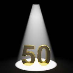 Gold 50th 3d Number Representing Anniversary Or Birthday