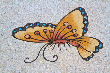 Paintings of butterflies on a wall in Chinese temple