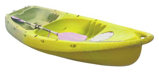 yellow sea kayak isolated white