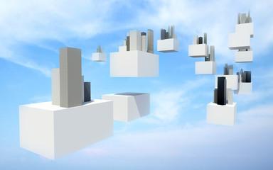 Future sky city in the cloudy sky.