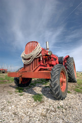 French antique tractor used for oyster farming