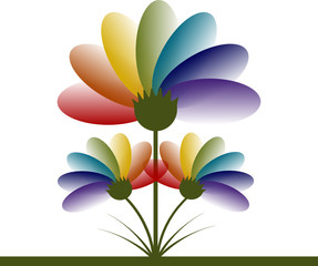 Spectrum Rainbow Flowers Logo