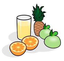 Apples, oranges, pineapple and a glass of juice.