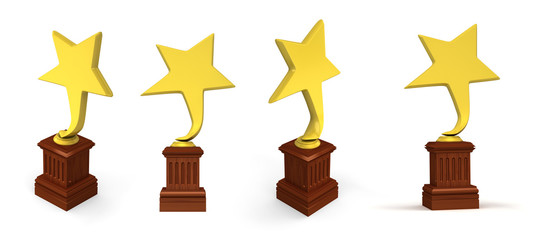 Golden star awards isolated on the white background