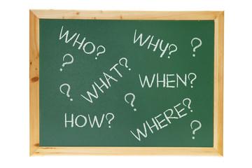 Black Board with  Interrogative Pronouns