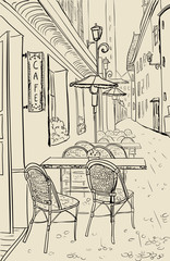 Aluminium Prints Drawn Street cafe Street cafe in old town sketch illustration