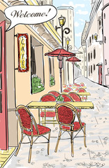 Poster de jardin Drawn Street cafe Street cafe in old town sketch illustration