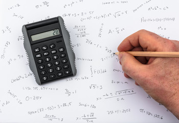 Checking the calculations on a pocket calculator