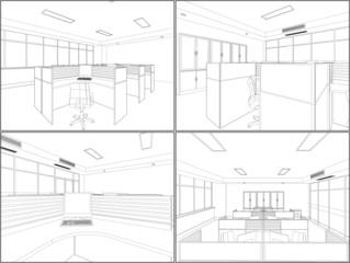 Interior Office Room Vector 11