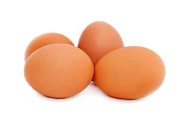 four chicken eggs. isolated