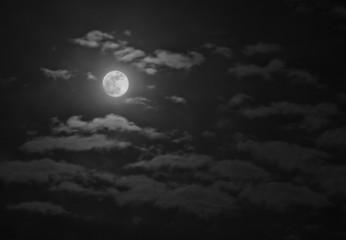 full moon against a cloudy sky