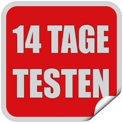 Sticker rot quadrat cu 14 TAGE TESTEN