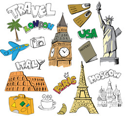 Papiers peints Doodle Travel background