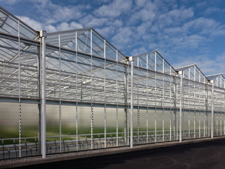 Sideview of a newly build greenhouse