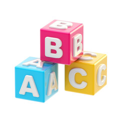 ABC glossy cube illustration isolated
