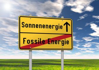 "Ortsschild ""Sonnenenergie / Fossile Energie"""