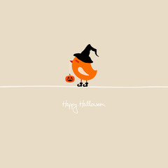 Cute Halloween Bird Holding Pumpkin