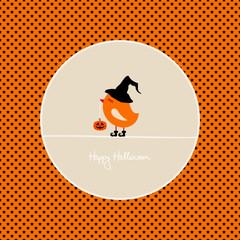 Cute Halloween Bird Holding Pumpkin Stars Background