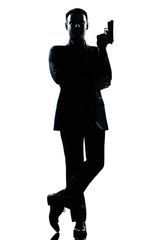 silhouette man full length secret agent in a james bond posture