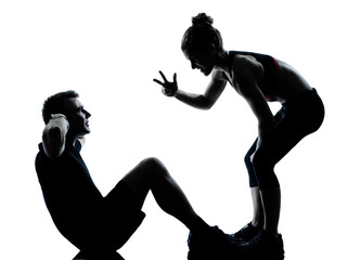 Wall Mural - one couple man woman exercising workout fitness