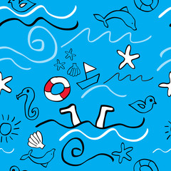 Seamless Holiday background / Sketch of summer symbols