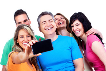 Group of happy people with a smartphone.