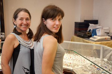 women at jewelry  shop