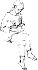 the sketch of girl sits and filled up a leg on a leg