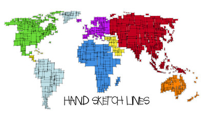 Colored map of the World, hand sketch design