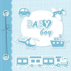 Vector baby boy scrapbook