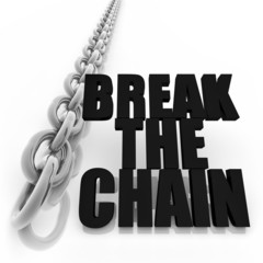 Metal chain and freedom concept