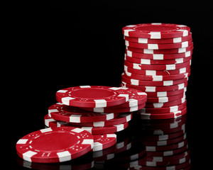 Casino chips isolated on black