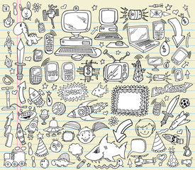 Notebook Doodle Design Elements Vector Illustration Set