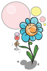 Cartoon Flower with a cup of Wine.