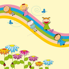 Canvas Prints Rainbow Happy kids