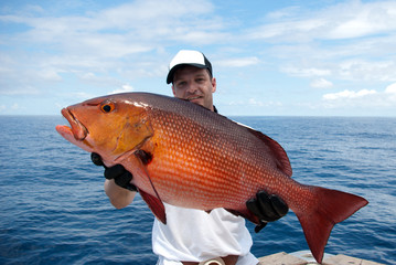 Happy  fisherman holding a beautiful red snapper