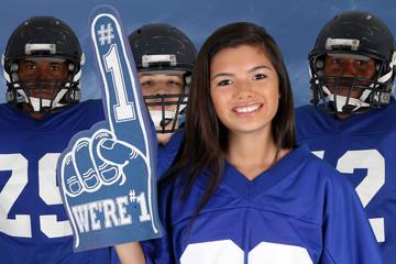 Football Team and Cheerleader