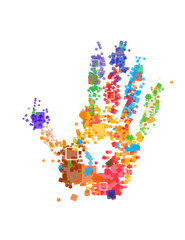 Close up of multicolored hand print on white background