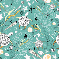 seamless pattern of sea turtles and jellyfish