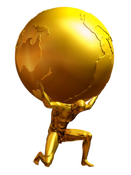 Atlas in pure gold, a man carries the world on shoulders