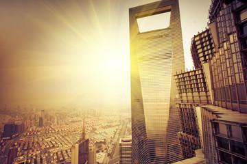 Aluminium Prints Shanghai overview of modern building shanghai