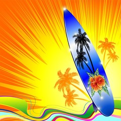 Tavola da Surf Mare ai Tropici-Surf on Tropical Seascape-Vector