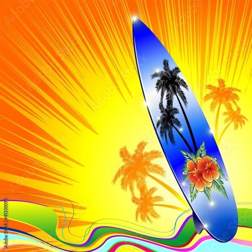 Tavola da surf mare ai tropici surf on tropical seascape vector immagini e vettoriali royalty - Tavole da surf decathlon ...